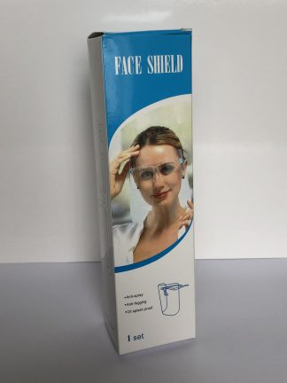 Box for Face Shield, Blue and White with woman wearing the face shield