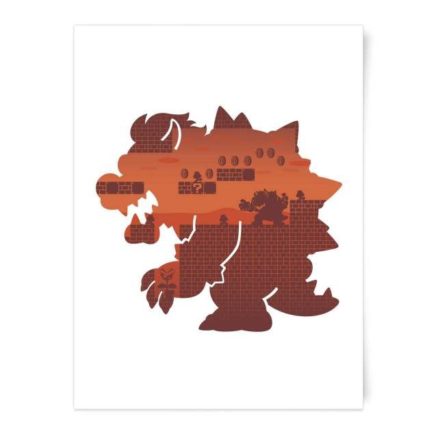 poster art print super mario bowser