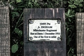 Memorial for Private Ingham, shot at dawn. Lochnager Crater