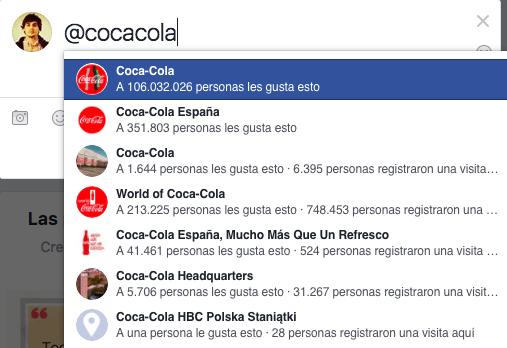 menciones en Facebook