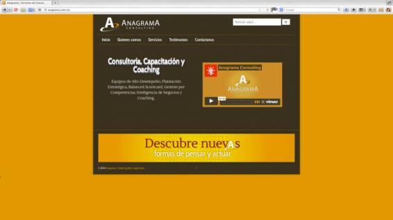 Diseño y asesoría del diseño gráfico del sitio para la Consultoría de Anagrama Consulting en Guadalajara, Jalisco. Realizado sobre plataforma de Word Press. http://www.anagrama.com.mx