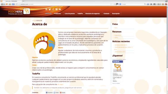 Conceptualización, realización y diseño del sitio web, publicidad y contenidos para PODOHERA, productos para pies, negocio ubicado en Zapopan, Jalisco. http://www.podohera.com