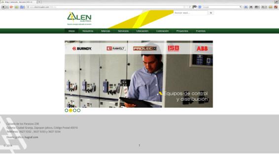 Realización y asesoría en el concepto gráfico del sitio Web realizado en Word Press. Alen eléctrica es un distribuidor de material eléctrico en Zapopan, Jalisco. http://www.electricaalen.com