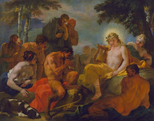 The contest between Apollo and Pan judged by King Midas *oil on canvas *135.9 x 173.4 cm *circa 1685-1687