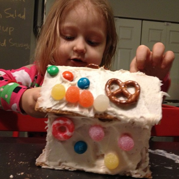 Gingerbread house decorating.