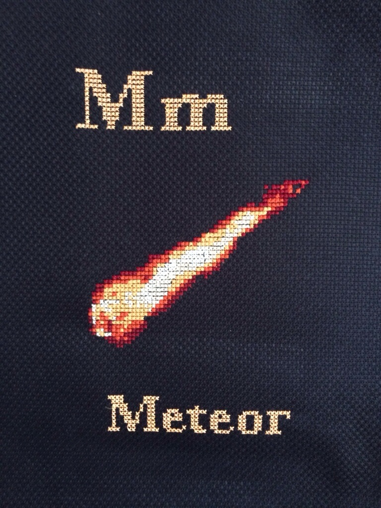 M is for Meteor Space Cross Stitch from Hugs are Fun