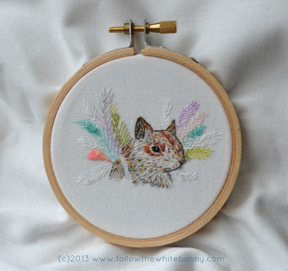 Squirrel embroidery by Follow the White Bunny