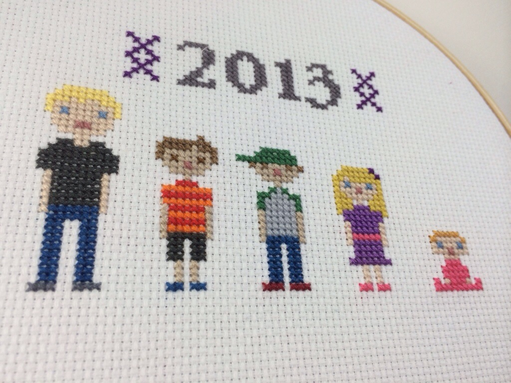 Pixel Grandkid Cross Stitch by Hugs are Fun