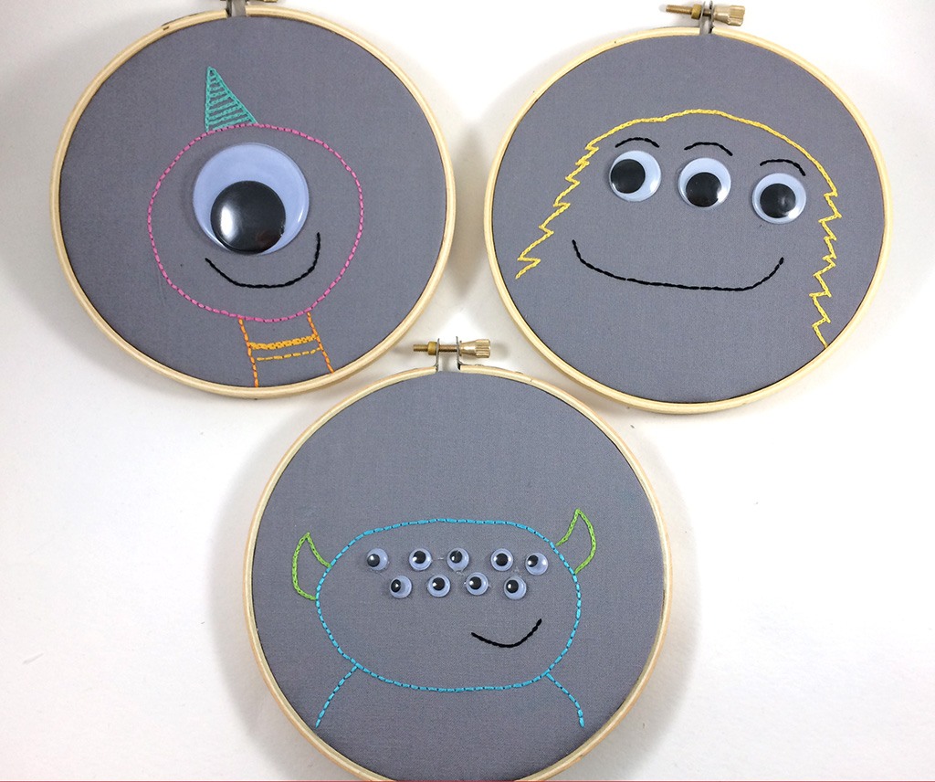 Googly Eye Monster Embroidery by Hugs are Fun