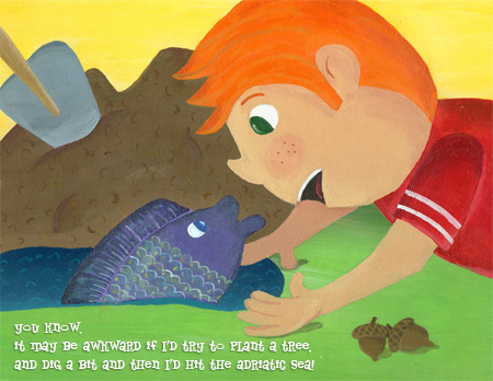 Boy and Fish Illustration by Hugs are Fun