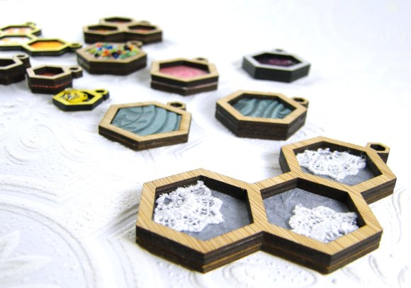 Laser Cut Hexagon Pendants from Hugs are Fun