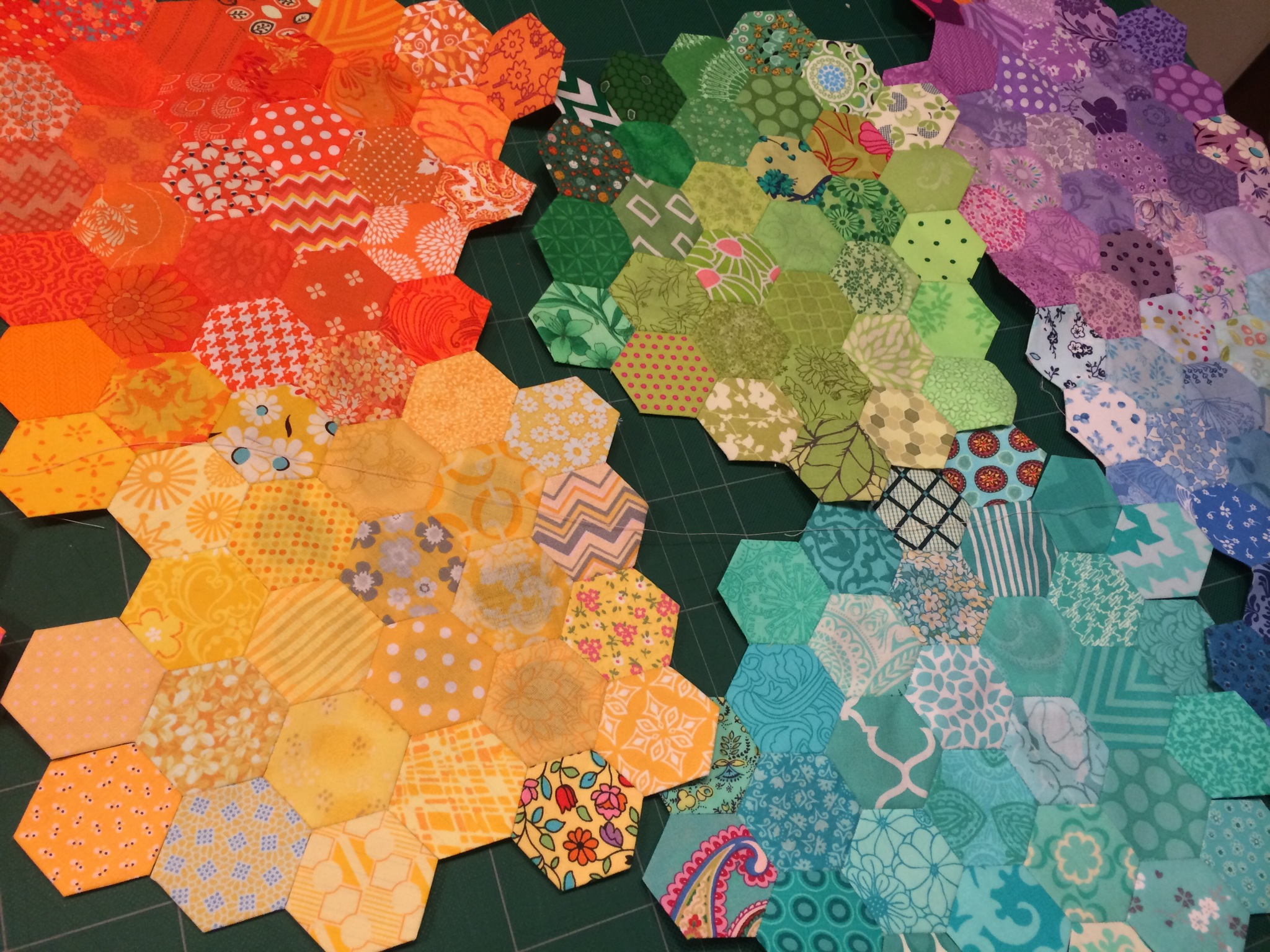 A Rainbow of Hexagons by Hugs are Fun