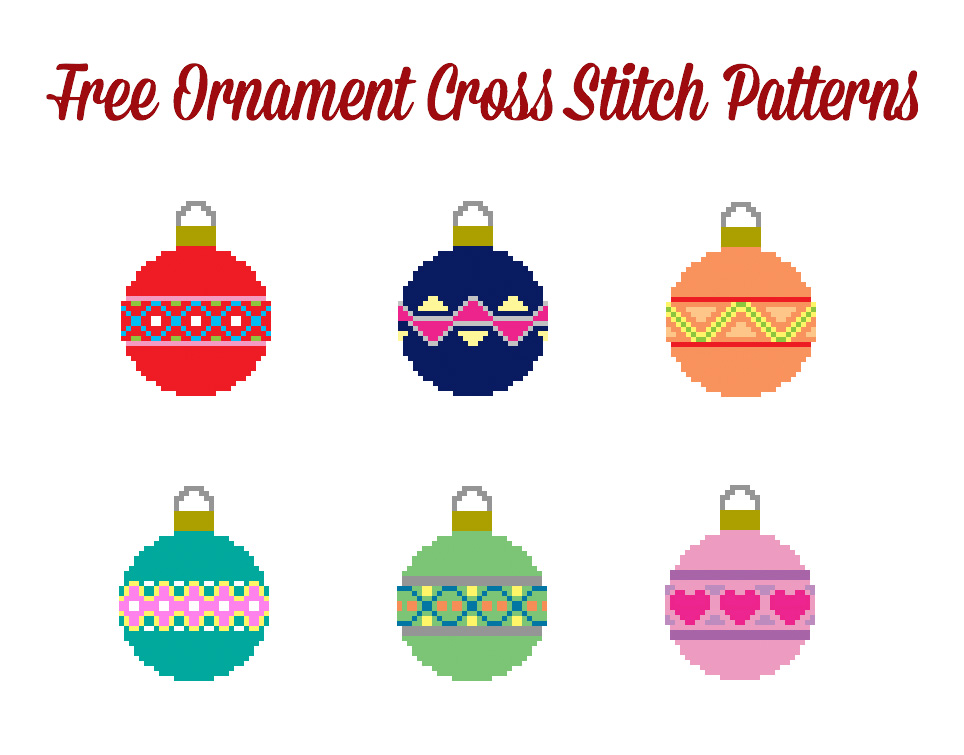 Six Free Christmas Ornament Cross Stitch Patterns from Hugs are Fun!
