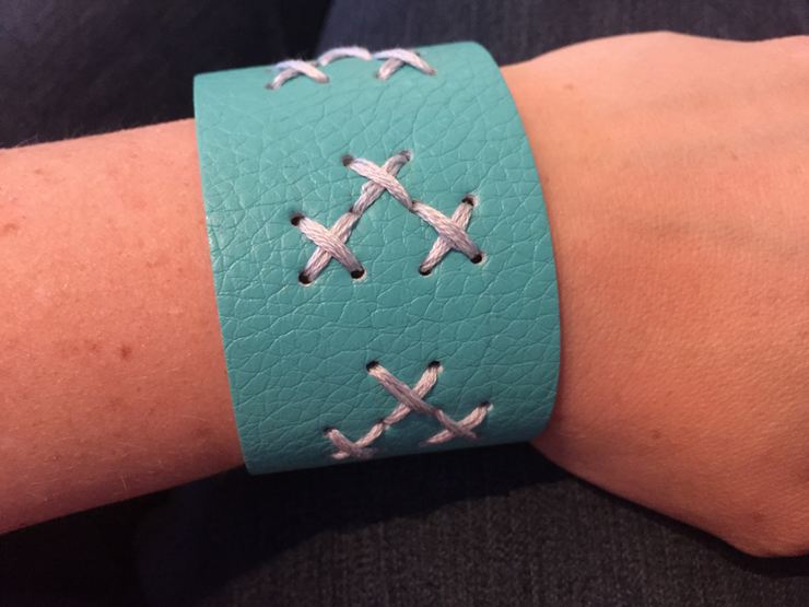 Cross Stitched Leather Cuff Tutorial from Hugs are Fun