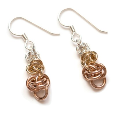 Barrel-Sterling-Silver-14kt-Rose-gold-filled-chainmaille-earrings-hui-designs
