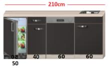 Kitchenette Faro Antraciet met koelkast en vaatwasser 210cm HRG-5384