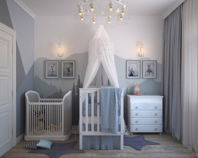 Blauwe babykamer