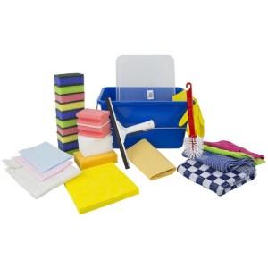 Schoonmaak start pakket met deksel en schoonmaakartikelen 12 L