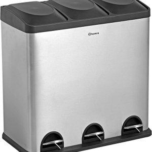 Homra MAXER pedaalemmer - Prullenbak 3 vakken - Afvalemmer 60 Liter (3x 20L) - Trio prullenbak - RVS - 3-vaks Prullenbak Afvalscheiding - Afvalbak RVS - Hygiënisch Recyclen - Afval Scheiden - Pedaal Prullenbak zilver