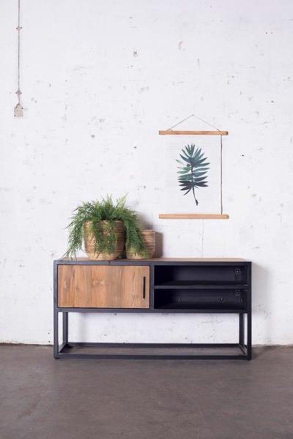 TV Meubel Zwart & Naturel - Hout & Metaal - 120x40x60cm - Tv-meubel Banda - Giga Meubel