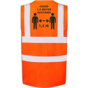 Oranje Corona veiligheidsvest 1,5 meter afstand werkkleding voor volwassenen