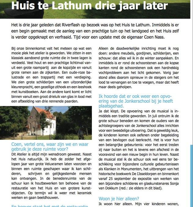 Riverflash nov 2016 artikel 'Huis te Lathum' drie jaar later