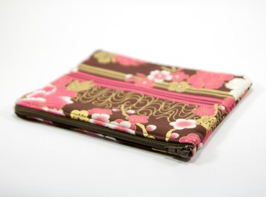 Pochette zippée marron, rose et or