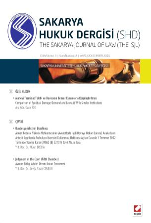 Sakarya Üniversitesi Hukuk Fakültesi Dergisi