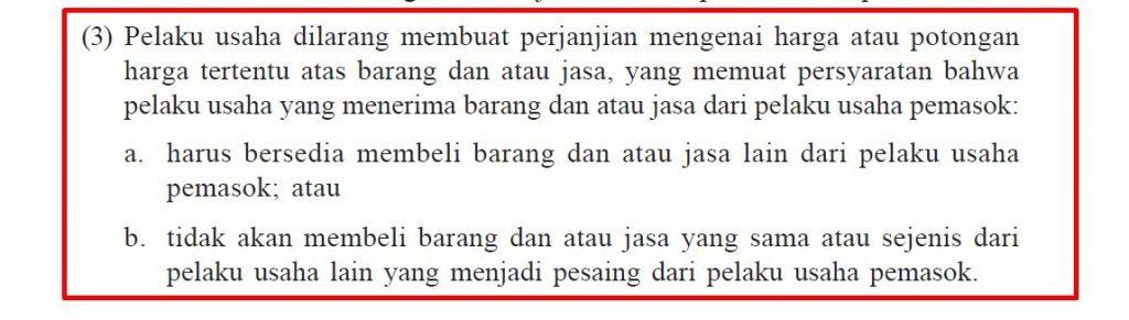 Pasal 15 Ayat 3 b Undang-Undang Nomor 5 Tahun 1999 Tentang Larangan Praktek Monopoli Dan Persaingan Usaha Tidak Sehat