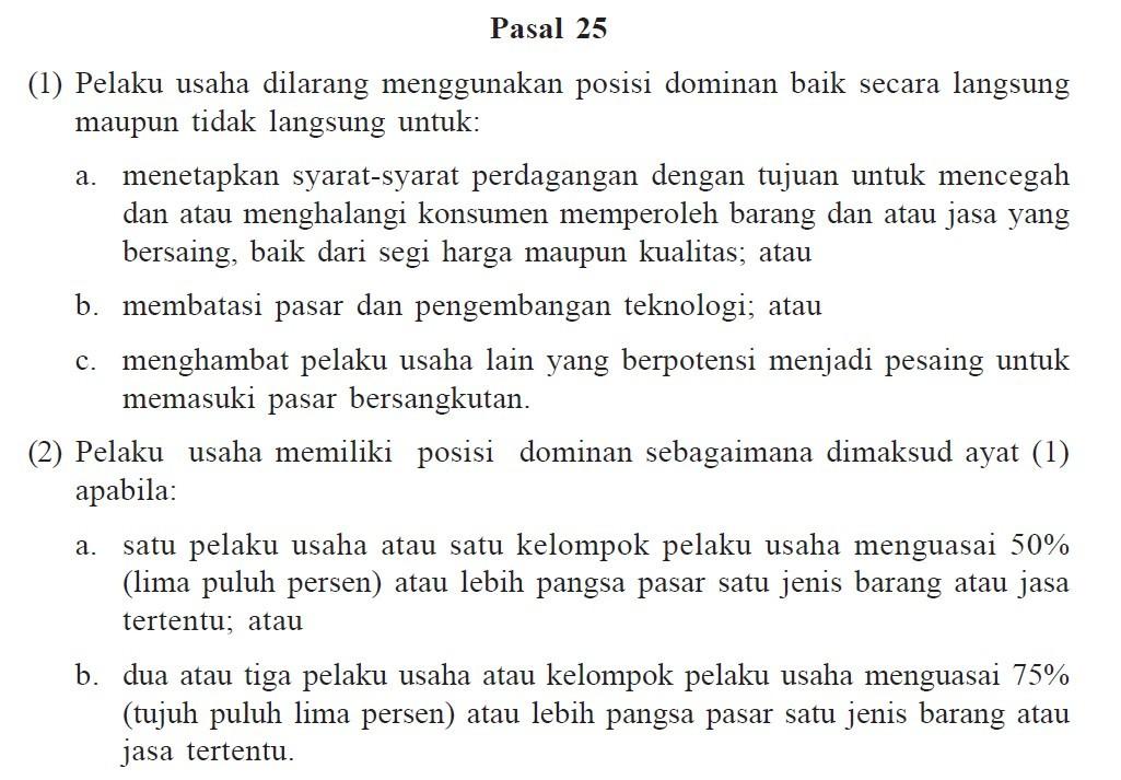 Pasal 25 Undang-Undang Nomor 5 Tahun 1999 Tentang Larangan Praktek Monopoli Dan Persaingan Usaha Tidak Sehat