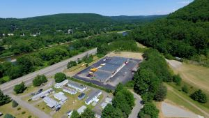 aerial view of school bus parking - aerial-view-of-school-bus-parking