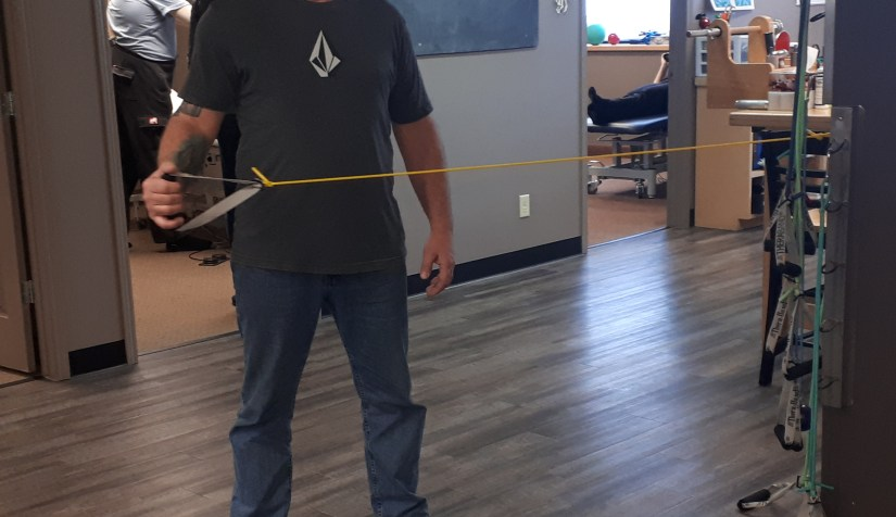 Elastic bands with increasing levels of resistance are used for gradual strengthening.