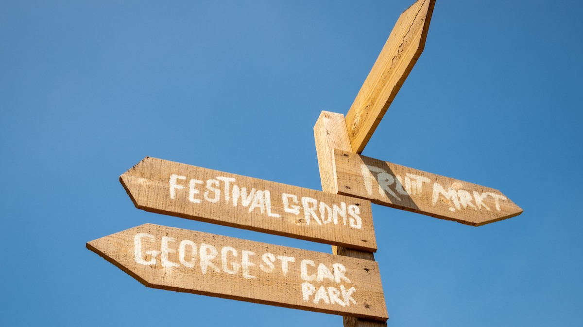 a wooden sign pointing in several directions against a clear blue sky