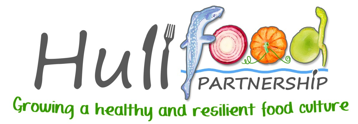 "Hull Food Partnership logo. The word food is made up of a fish, beetroot, pumpkin and a sprouting seed. The tagline underneath says ""growing a healthy and resilient food culture"""