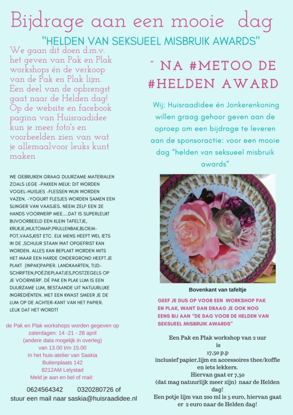 pak en plak workshop voor 'Helden Awards'