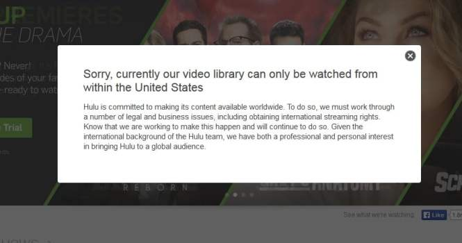 Hulu from abroad message
