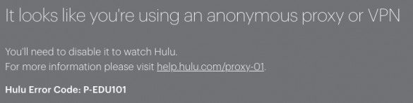 Error message p-EDU 101 on Hulu