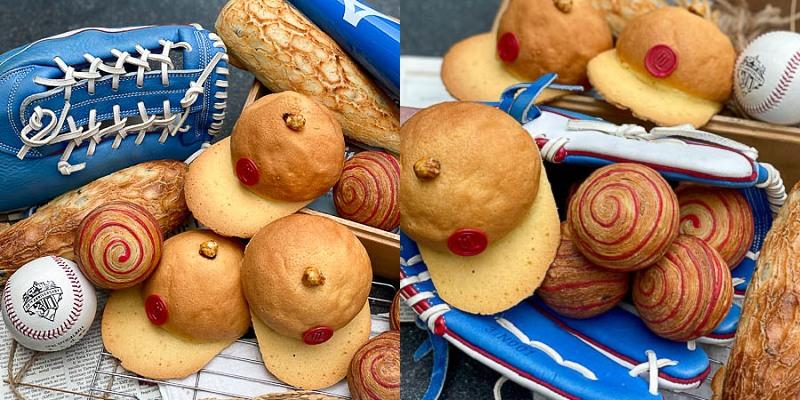 「晶英酒店 VS 統一麵包」超夯爆款!棒球系麵包~超有梗!極光奶油升級仿真麵包。「紅不讓棒球麵包組」獨家販售!