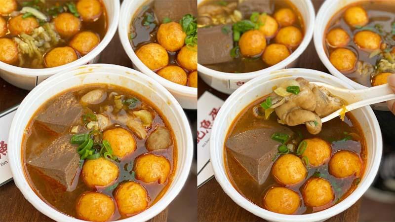 台南美食 微涼天氣來上一碗超對味!厚實鴨血,彈牙魚蛋的麻香好滋味。「包記魚蛋」|防疫期間外帶美食推薦|
