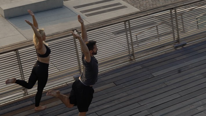 Human Posture founders Kai and Deva practicing Kalari at Docklands in Hamburg