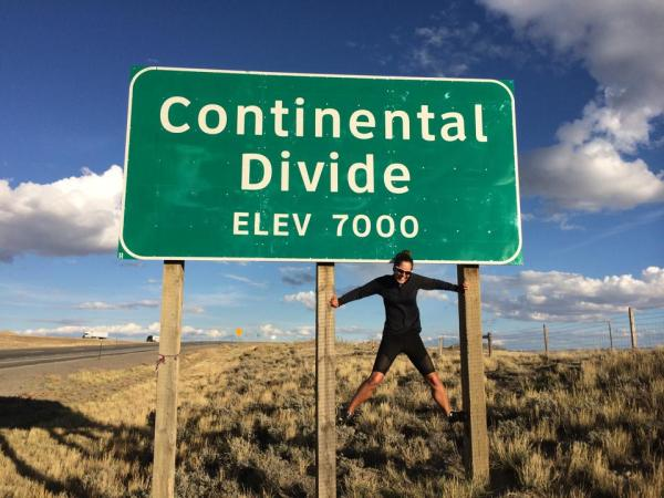 Christina at the Wyoming Continental Divide during her run.