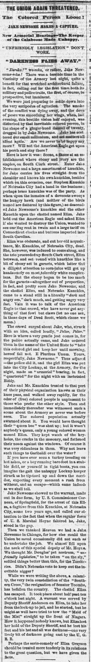 Chicago Tribune article on Eliza's second escape in 1860 while she was in Chicago.