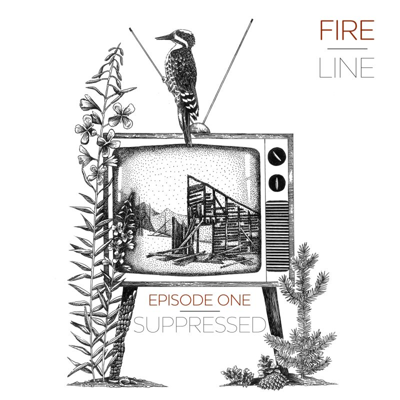 Fireline episode one cover art, bird sitting on a TV with a image of a burned building.
