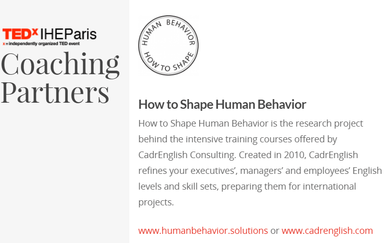 HumanBehavior.solutions coaching partner for TEDxIHEParis