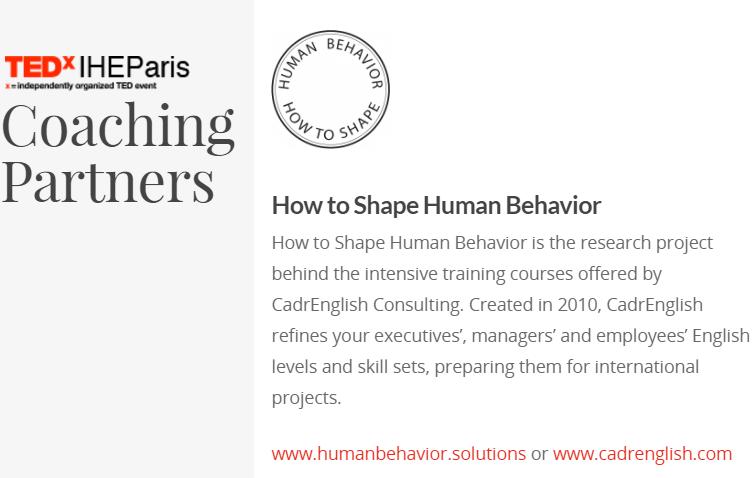 HumanBehavior.solutions coaching partner for TEDxIHEParis