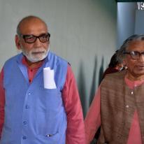 Ar, Girish Doshi escorting Prof. B. V. Doshi at the function.