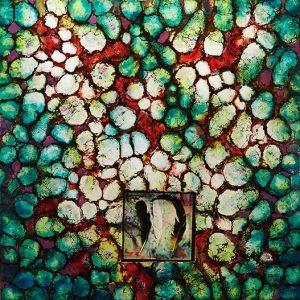 """""""Reliquary No.4"""" 36""""x36"""" encaustic and shellac on panel inset- glass, feathers, encaustic and pins"""