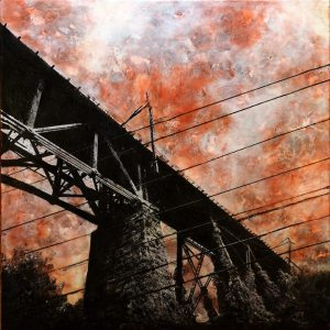 """Trestle"" 36""x36"" encaustic, paper, acrylic, sumi ink and graphite on panel"