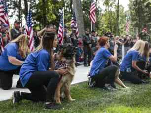 The K-9 Salute Team howls a final tribute in memory of Cena, a K-9 hero.