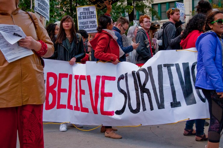 Protestors,in support of the #MeToo movement and Kavaugh's accuser Christine Blasey Ford.